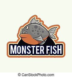 monster fish illustration design full colour