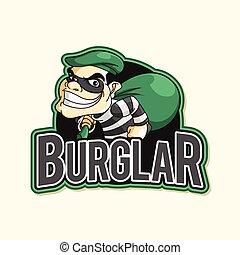 burglar green illustration design