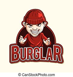 burglar red illustration design