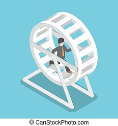 Isometric businessman in a suit running in a hamster wheel,...