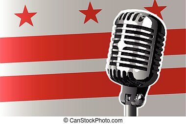 Washington DC Flag And Microphone - The state of Washington...