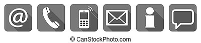 contact us six icons set - Contact Us, set of six white...