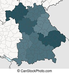 Map of Bavaria with neighboring federal states - Map of...