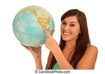 Beautiful Woman with World Globe