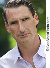 Outdoor Portrait of Handsome Middle Aged Man - An outdoor...