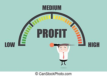 Businessman Profit Meter - detailed illustration of a person...