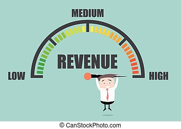 Businessman Revenue Meter - detailed illustration of a...