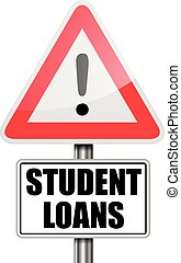 Attention Student Loans - detailed illustration of a red...