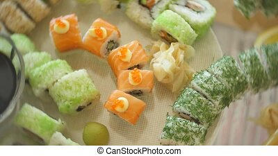 Various Sushi with different kind of topping