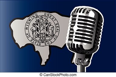 Wyoming Flag And Microphone
