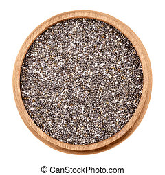 Chia seeds in a bowl on white background. Raw edible fruits...