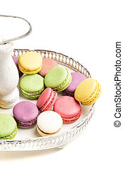 Tasty macaroons na plate on white background
