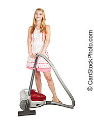 Gir with vacuum cleaner. Isolated over white background