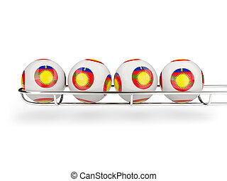 Flag of guadeloupe on lottery balls 3D illustration