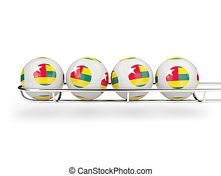 Flag of togo on lottery balls 3D illustration