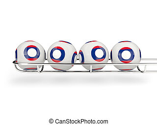 Flag of laos on lottery balls 3D illustration