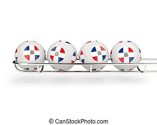 Flag of dominican republic on lottery balls 3D illustration