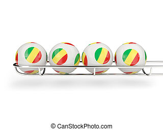 Flag of republic of the congo on lottery balls 3D...
