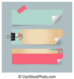 Old blank Tags, note paper. Ready for your design. Vector illustration.