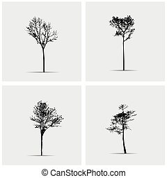 Set of vector tree silhouettes.
