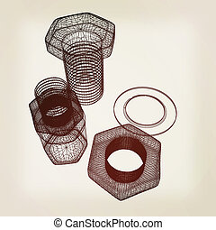 bolts with a nuts and washers 3D illustration Vintage style...