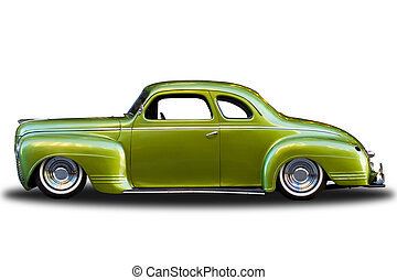 Green Vintage Car Isolated - Classic vintage automobile...