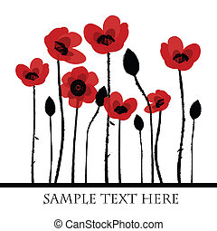 Red poppies background