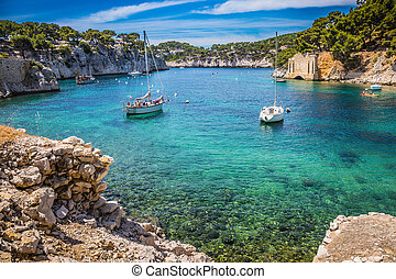 The yachts in the sea fjord - National park of Calanques in...