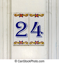 Number 24 - house number twenty four 24 on two ceramic tiles...