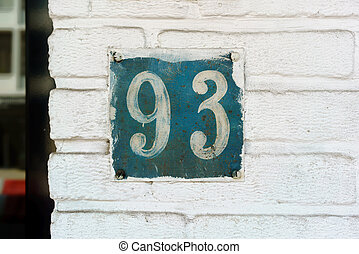 Number 93 - hand painted house number ninety three (93)