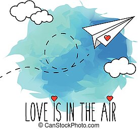 Flying hand drawn paper plane vector illustration, romantic, valentine card. Love is in the air