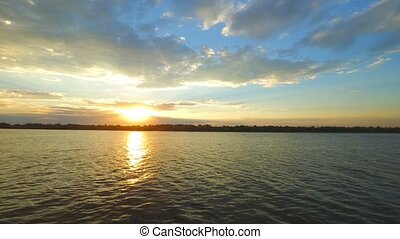 Sunset over a Volga-river nar Astrakhan Russia Timelapse.