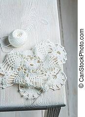 Handmade crocheted white napkins