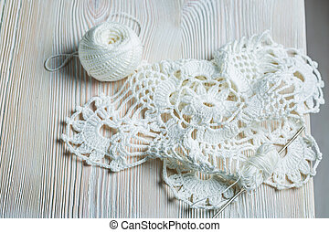 Crochet white napkins made by hand
