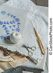 Homemade embroidered napkins with white thread