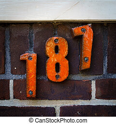 House number 187 - ceramic house number one hundred and...