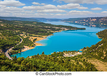 Canyon of Verdon, Provence - spring. Magnificent lake with...