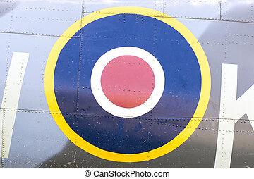 Round symbol on an old dutch warplane, isolated