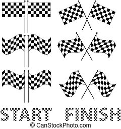 Checkered flags set for racing and autosport design, such a...