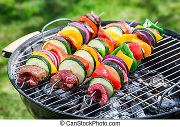 Roasting fresh beef and vegetables with herbs in garden