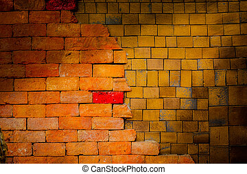Old  brick wall is background