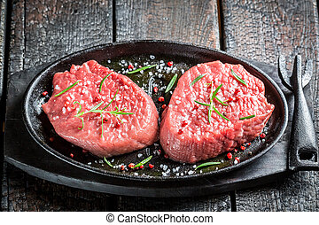 Roasting beef with herbs