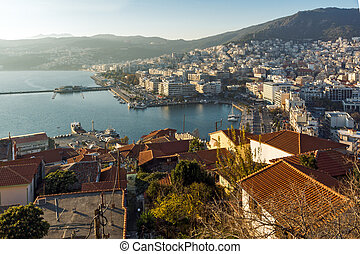 Panorama to port of Kavala - Amazing Panorama to port of...