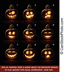 Dark Jack O Lantern Cartoon - 9 Angry Expressions Set2 -...