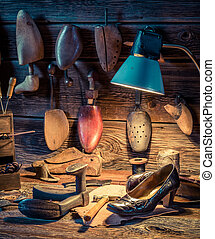 cuero, herramientas, Zapatero, taller, zapatos