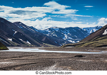 Valley Park Landmannalaugar cross streams - Rhyolite...