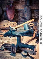 herramientas, zapatos, cuero, vendimia, taller, Zapatero