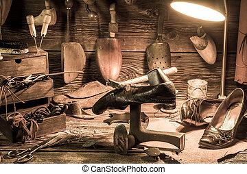 herramientas, zapatos, vendimia, Lugar de trabajo, Zapatero,...