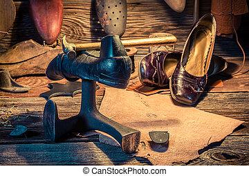 herramientas, zapatos, cuero, vendimia, Lugar de trabajo,...