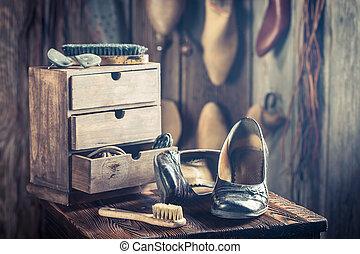 herramientas, viejo, zapatos, cuero, taller, Zapatero